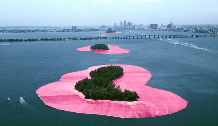 Christo and Jeanne-Claude, Surrounded Islands, Biscayne Bay, Greater Miami, Florida, 1980-83, photograph 1983,  color photograph by Wolfgang Volz, mounted on aluminum panel, 149.8 x 198.1 (59 x 78).  National Gallery of Art, Washington, Promised Gift of a Private Collector in honor of Dorothy and Herbert Vogel 2001  © Christo 1983    Copyright © 2012 National Gallery of Art, Washington D.C.