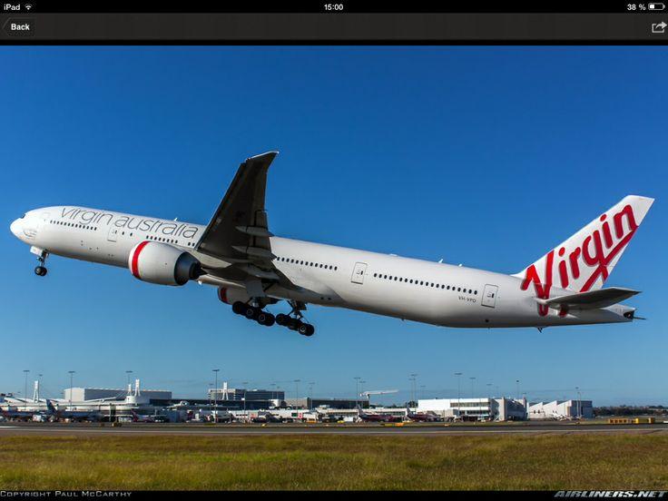 A Virgin Australia B777-300ER take off from Melbourne.