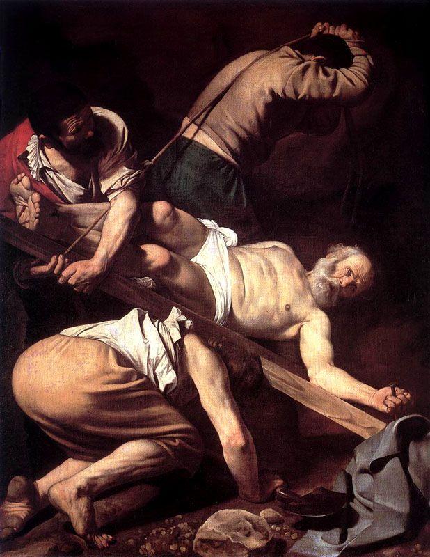 """Crucifixion of St. Peter    Caravaggio [Michelangelo Merisi da Caravaggio, b. Milano, 28 September 1571 - d. Porto Ercole, 18 July 1610)], """"Martyrdom of St. Peter,"""" 1600-01. Oil on canvas, 90 1/2 x 70 in (230 x 175 cm). Cerasi Chapel, Santa Maria del Popolo, Roma."""
