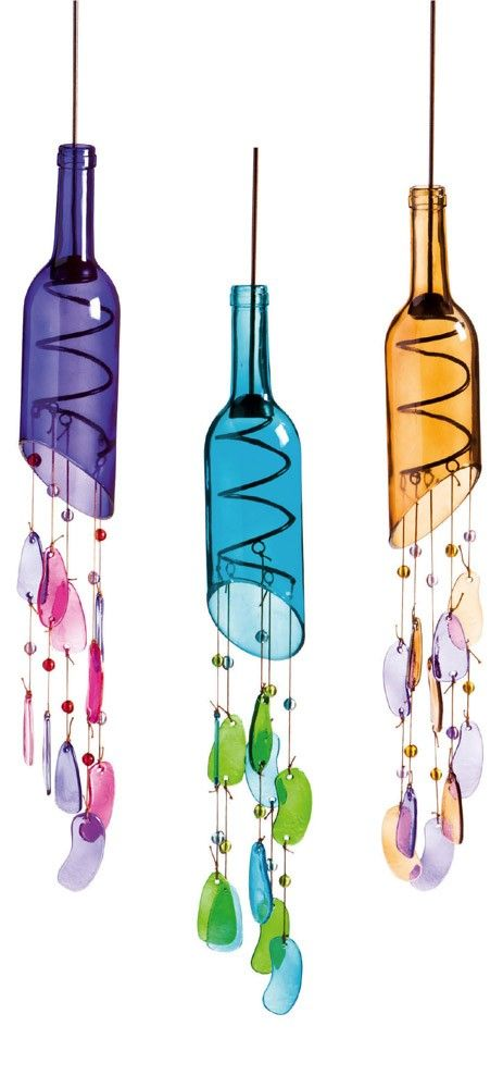 Wine bottle wind chimes. www.ContainerWaterGardens.net