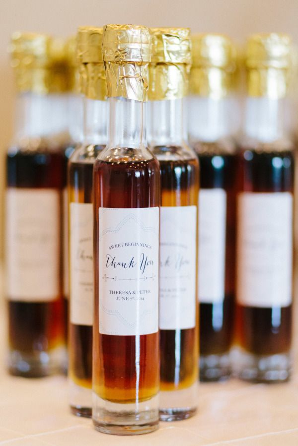 Maple syrup: http://www.stylemepretty.com/2015/06/28/15-delicious-wedding-food-favors/