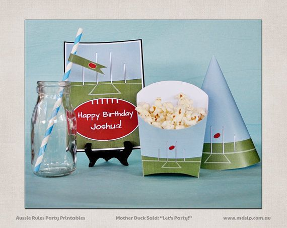 AFL  Party Decoration Printables Add On / Footy by InviteMe2Party, $18.00