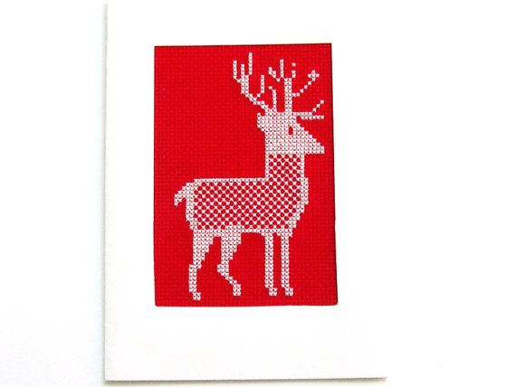 Xmas Cross Stitch Card  Red Reindeer Handmade by MouseGarden