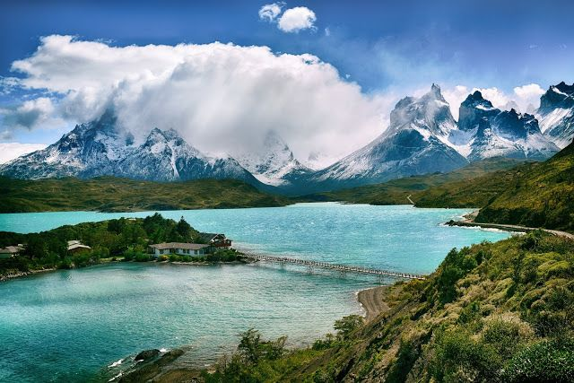 Mountains and Lake, Torres del Paine National Park | #desktop #wallpapers #photography #nature #photos #landscape #lake #mountains #NationalPark #TorresdelPaine #clouds
