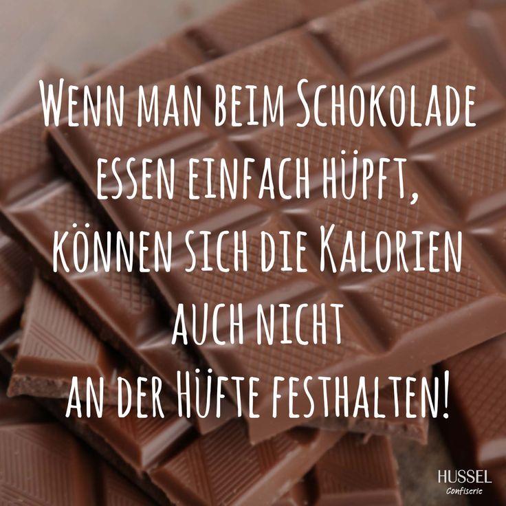 Wenn man beim Schokolade essen einfach hüpft, können sich die Kalorien auch nicht an der Hüfte festhalten! Lustige Sprüche, Fakten und Tipps rund um Schokolade. Hussel Confiserie.
