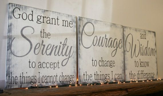 Serenity prayer for your wall! This is a set of three wood signs that come in several sizes. The background is Ivory. Words are a combination of Gray and Black.  Each piece is handpainted and sanded for a distressed/shabby chic vintage look. It is then sealed with water based varnish.  The back is left unfinished and comes ready to hang with sawtooth hanger.