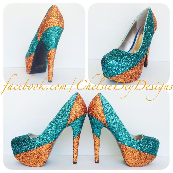 Teal and Orange Glitter High Heels - pinned by pin4etsy.com