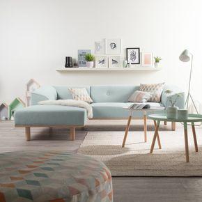 Ecksofa Aya in Stahlblau mit Longchair rechts jetzt online kaufen | Home24
