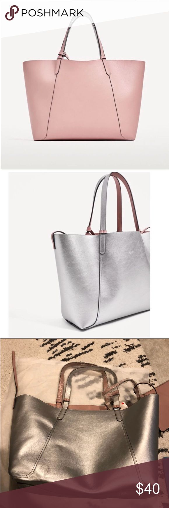 New Zara Reversible pink silver tote bag! Brand New Zara Tote Bag with pouch and dustbag. It's like 2 bags for the price of 1! Great for work and school! Silver and pink. VERY roomy! Pet free and smoke free home! Zara Bags Totes