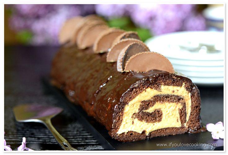 Rulada cu unt de arahide si ciocolata | www.ifyoulovecooking.com