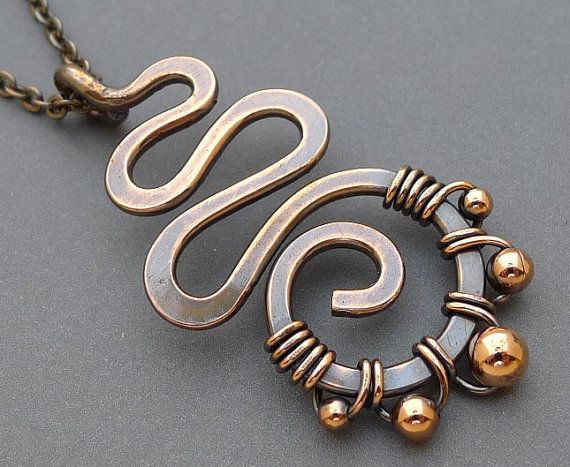 Oxidized Copper Squiggle Necklace with Copper Beads