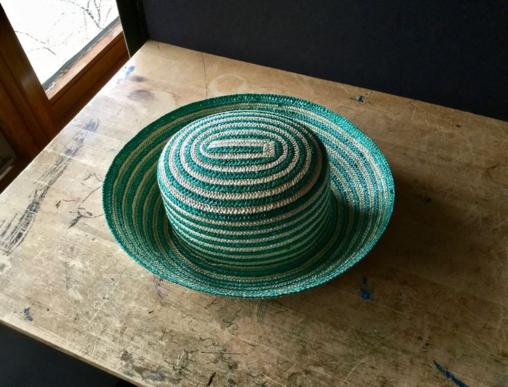 Vintage Straw Hat, Saks Fifth Avenue, Woven Hat, Green Hat, Ladies Straw Hat, Womens  Hat, Striped Hat, Summer Hat, Easter Hat, Italian Hat by RushCreekVintage on Etsy