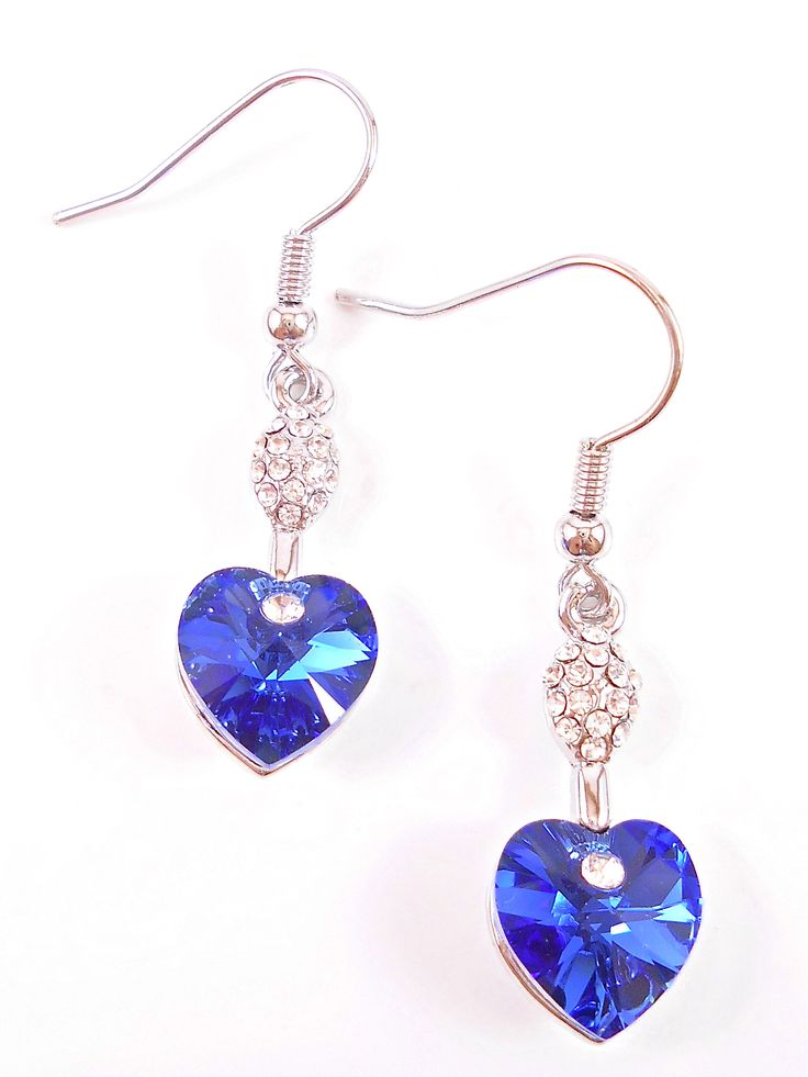 Stylish royal blue crystal hearts.