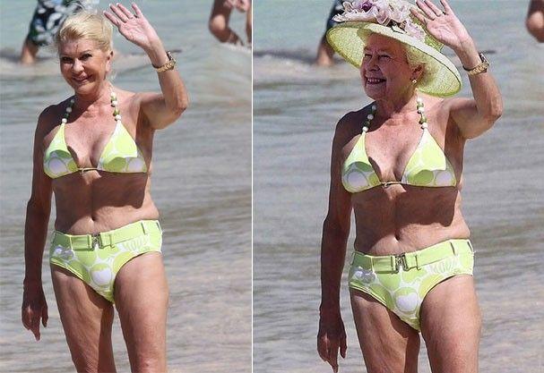 A rainha foi Photoshopada no corpo de Ivana Trump, ex-mulher do Trump (Foto: Reprodução Instagram)