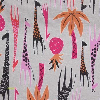 Giraffes fabric in pink