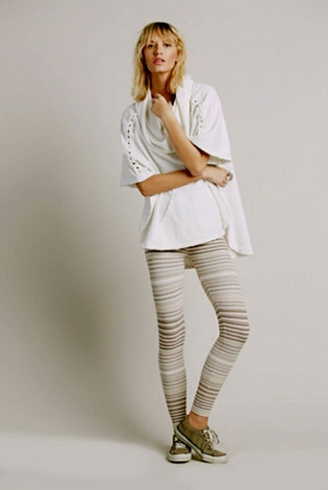 NWOT Free People stretch Striped Marled Sweater Leggings taupe tan XS #FreePeople #sweaterleggings