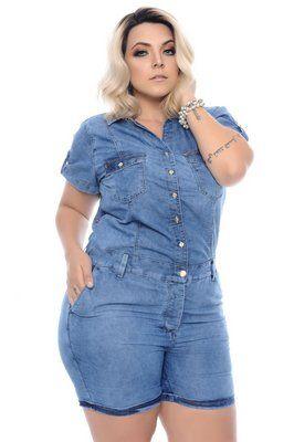f4f47e89d2 Macaquinho Jeans Plus Size Naiana