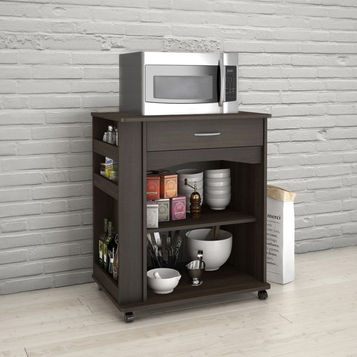 Nexera 497 1 Drawer Mobile Microwave Cart Ebony