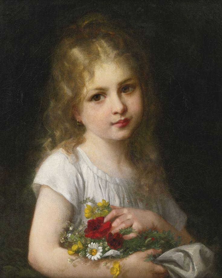 Retrato de una niña con vestido blanco - Gustave Doyen
