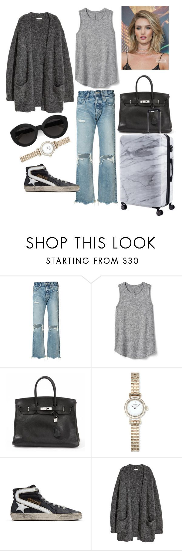 """""""AIRPORT 1"""" by ghalouy on Polyvore featuring moussy, Gap, Hermès, Golden Goose, CalPak, Whiteley and Carla Zampatti"""