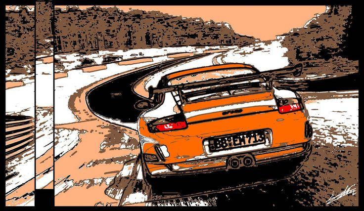 Tableau Porsche Gt3 Rs voiture de course sport peinture moderne et contemporaine peint à la main et a l'acrylique.