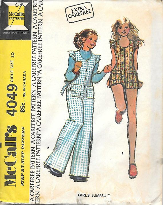 McCalls 4049-1970s Tweens Jumpsuit in Two Lengths Vintage Sewing Pattern,  offered of Etsy