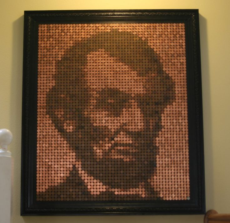 Dear lord, would my father love this!: Abraham Lincoln, Crosses Stitches Patterns, Pennies Art, Pretty Pennies, Pennies Mosaics, Pennies Floors, Community Posts, 25 Pretty, Pennies Projects