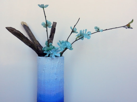 Blue ombre Vase / blue home decor / made to by CarriageOakCottage