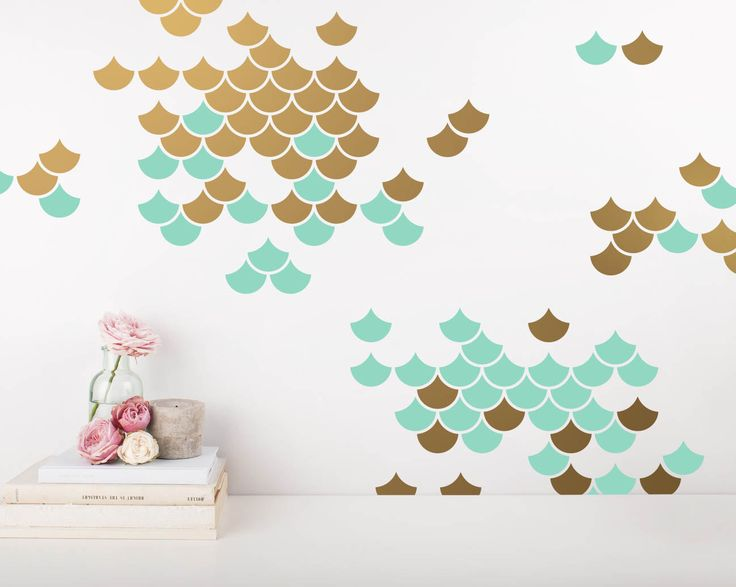 Mermaid Scale Wall Decals - 2-Color Wall Decals, Nursery Decals, Geometric Decals, Modern Wall Decals, Unique Wall Decor by KennaSatoDesigns on Etsy https://www.etsy.com/listing/513270279/mermaid-scale-wall-decals-2-color-wall