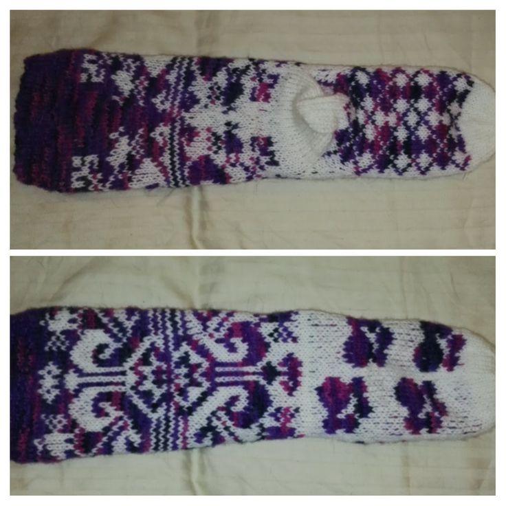 Novita Polaris and 7 veljestä white, design by me using knitting charts I have found from Pinterest