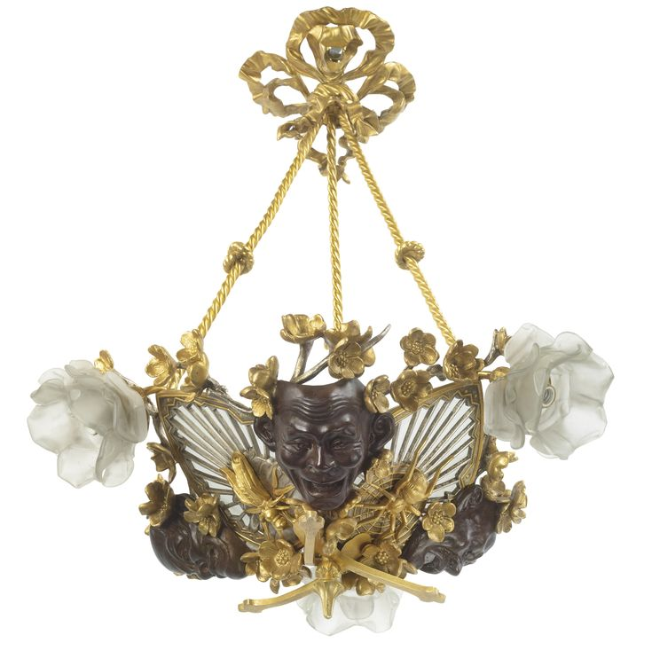 A JAPONISME GILT AND PATINATED BRONZE CHANDELIER