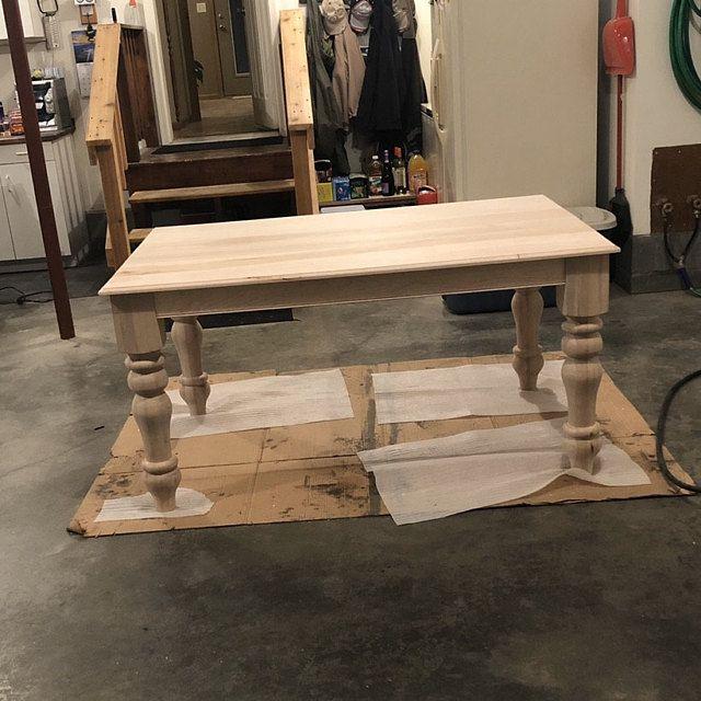 18+ Unfinished wood farmhouse bench model