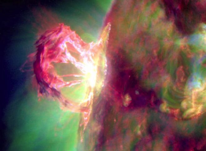 An incredibly stunning solar flare erupted from the sun's surface, throwing charged particles and searing plasma millions of miles out into space on Apr. 16.    NASA's Solar Dynamics Observatory captured data from the flare — a medium-sized M-class event — which was turned into a movie by Steele Hill, media specialist at the Goddard Space Flight Center. The blast was not directed at the Earth and is unlikely to hit any of the planets in our solar system.