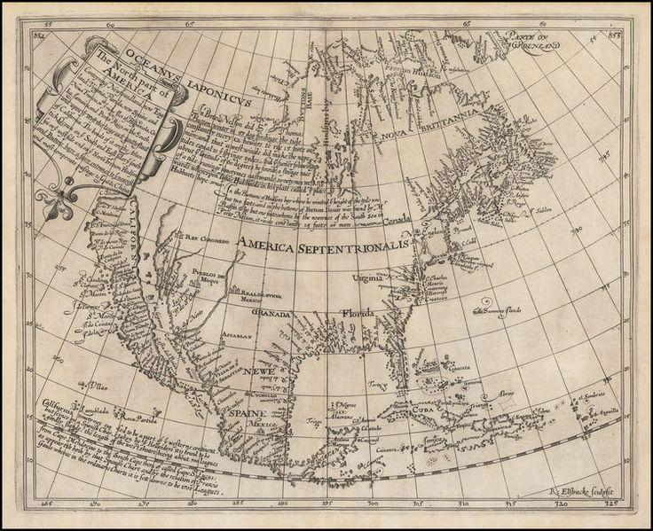 La parte nord dell'America Conteyning Terranova, New England, Virginia, Florida, nuovo Spagnae, e Noua Francia ... e su voi occidentale del grande e bello Iland della California. . . - Barry Lawrence Ruderman Antique Maps Inc.
