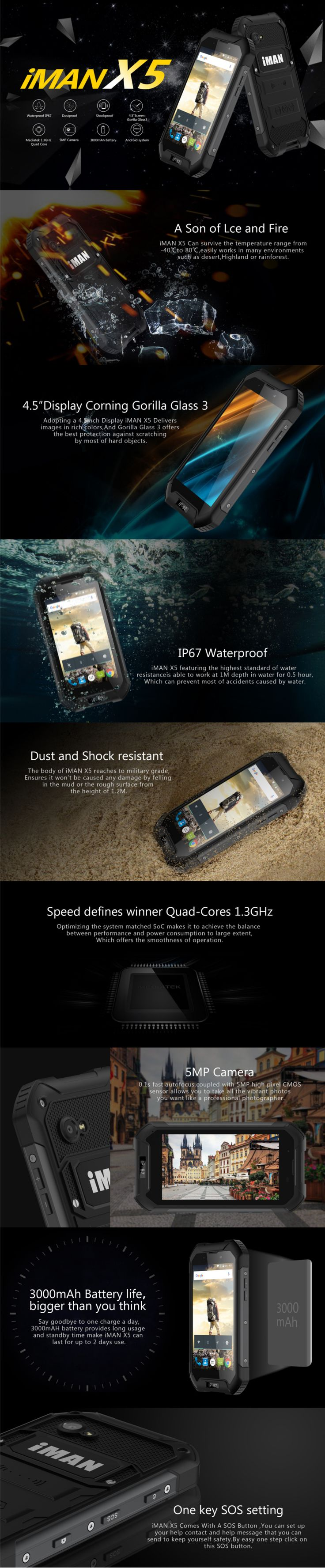 IMAN X5 4.5-дюймовый 3000mAh 1.3GHz IP67 5MP Android 5.1 Водонепроницаемый ударопрочный открытый смартфон