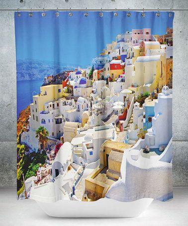 White Mediterranean Village Shower Curtain #zulily #zulilyfinds