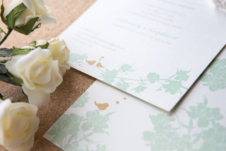 Sweet wedding invitation, with monochrome floral decorations