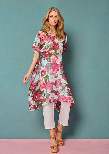 asymmetric dress-tunic in 100% viscose with flowers printing..... see more on:http://www.aliki-victoria.gr/gr/