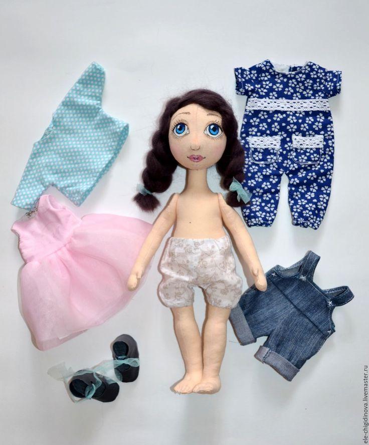 Купить Кукла с набором одежды №3 Текстильная кукла. - тёмно-синий, кукла ручной работы