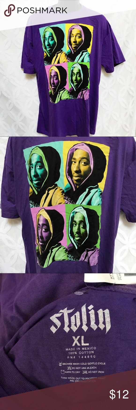 "2Pac Tupac  Shakur Got Purple Juice Tee NWT 2Pac Tupac  Shakur Got Purple Juice Tee NWT                             Measurements Laying Flat Size 🔹XL Armpit to Armpit 🔹24"" Shoulder to Hem 🔹33"" Bundle to Save 🤓 Sorry NO outside transactions 🚫 NO trades 🚫 Reasonable Offers welcomed 👍 NO Low balling 👎 NO modeling 👎 NO Holds👎 All items from a pet 😼and Smoke Free Home  Happy Poshing 🤗 Stolin Shirts Tees - Short Sleeve"
