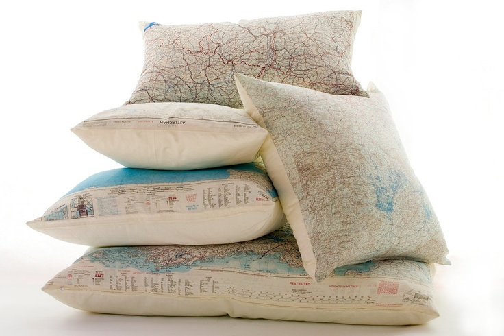 Silk aviator map cushion (Marseille-Mediterranean). $185.00, via Etsy.