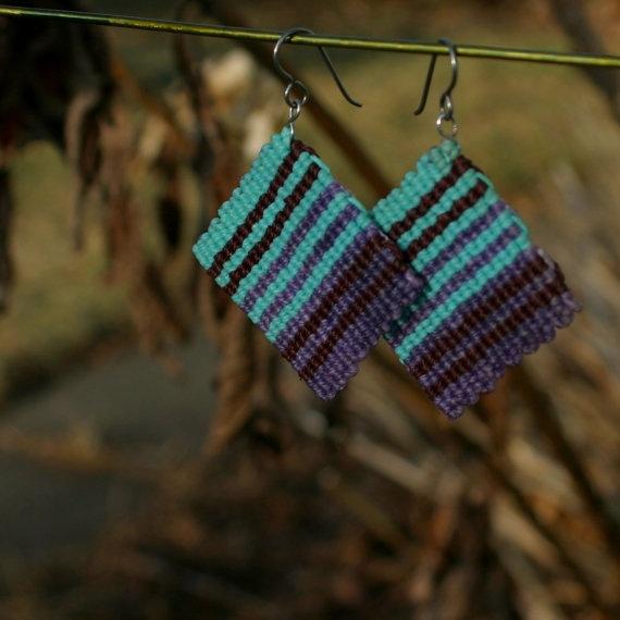 Lavender Mint Stripes Square Macrame Earrings    http://www.etsy.com/listing/70817332/lavender-mint-stripes-square-macrame