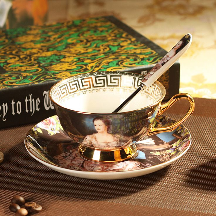 Teapot Tea Set Top Quality Royal Bone Coffee Cup Set Ceramic Tea Cups And Mugs With Spoon Saucer oil Painting Empress Josephine -in Coffee & Tea Sets from Home & Garden on Aliexpress.com | Alibaba Group