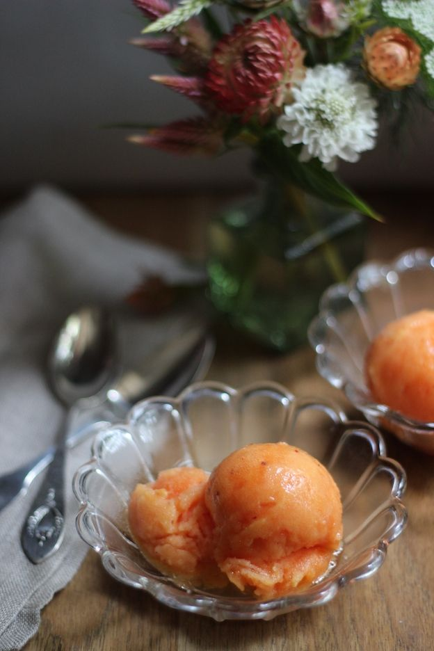 nectarine sorbet; has a smooth, creamy texture and tastes like pure ...