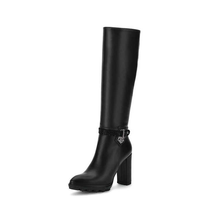 VINLLE Women's Knee High Boots Zipper Pointed Toe PU Leather Black Fashion Chunky Boots *** See this great product.