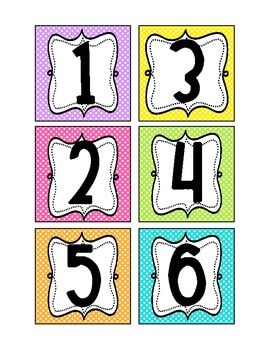 Numbers Bright Polka Dot- use for labeling math station tubs