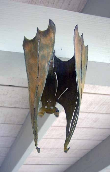 Halloween Metal Bat Vampire, Small Hanging, 3-D Flat or Curled Garden Yard Art