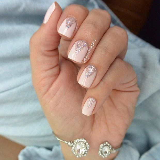 Sparkly Neutral And White Nail Art Design For Prom: 17 Best Ideas About Triangle Nails On Pinterest