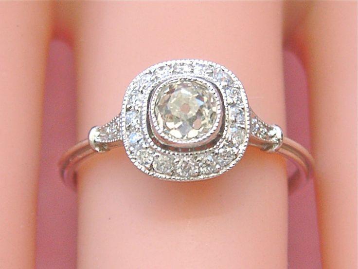 ANTIQUE .50ct MINE DIAMOND HALO PLATINUM SMALL CUSHION ENGAGEMENT RING c1920 #Unbranded #ARTDECOHALOENGAGEMENT