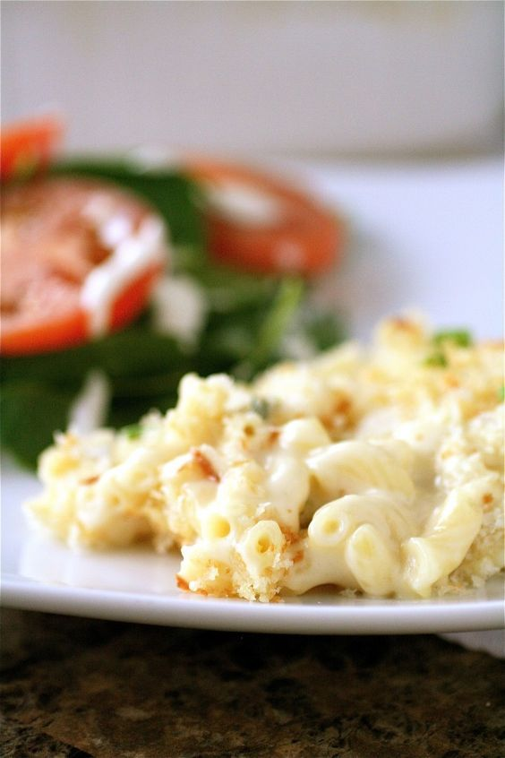White truffle mac and cheese that looks insanely decadent. I may lighten it up by using almond milk instead of half and half; I think it will retain the creaminess, add a touch of sweetness, and make me feel slightly less guilty.